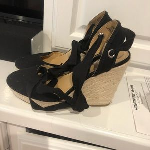 Express closed toe wrap wedges